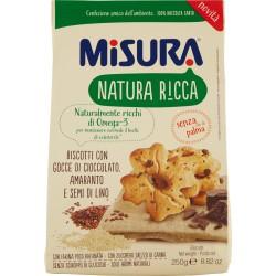 Misura Natura Ricca Biscotti con Gocce di Cioccolato, Amaranto e Semi di Lino gr.250