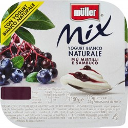 Müller Mix Yogurt Bianco Naturale Più Mirtilli e Sambuco 150 gr.
