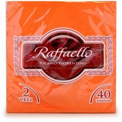 Raffaello tovaglioli ricamati fiore arancio pz.40