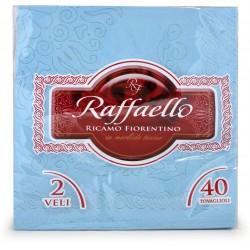 Raffaello tovaglioli ricamati fiore azzurro pz.40