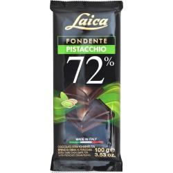 Laica tavoletta cioccolato fondente 72% ripiena di crema al pistacchio gr.100