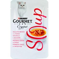 PURINA GOURMET CRYSTAL SOUP Gatto Delicato Brodo con Tonno Naturale, Acciughe Busta 40 gr.