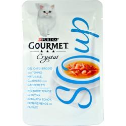 PURINA GOURMET CRYSTAL SOUP Gatto Delicato Brodo con Tonno Naturale, Gamberetti Busta 40 gr.