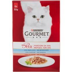 PURINA GOURMET Mon Petit Gatto Creazioni con Pesce (Merluzzo, Salmone, Sardine) Busta 6x50gr.