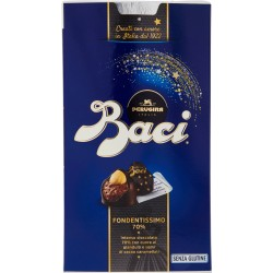 BACI PERUGINA FONDENTISSIMO 70% Cioccolatini ripieni al gianduia e nocciola intera scatola 200 GR.