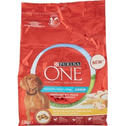PURINA ONE MEDIUM/MAXI 10kg Cane Crocchette Junior Ricco in Pollo con Riso Sacco kg.2,5