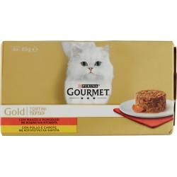 PURINA GOURMET Gold Gatto Tortini con Pollo e Carote, con Manzo e Pomodori lattina 4x85 gr.