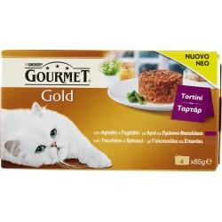 PURINA GOURMET Gold Gatto Tortini con Agnello e Fagiolini, con Tacchino e Spinaci lattina 4x85gr.