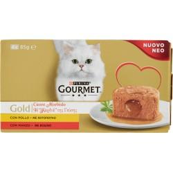 Gourmet gold cuore morbido manzo e pollo gr.85x4