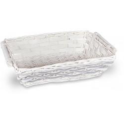 Cesto vimini righe grigio/bianco rettangolare medio cm.51/44x34x12 h.