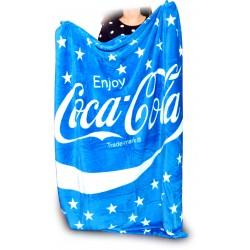 Cocacola plaid azzurro 100% poliestere Flanella vellutata cm.130x160