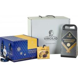 Virgilio box media con Parmigiano Reggiano oltre 30 mesi gr.700  e panettone artigianale gr.750