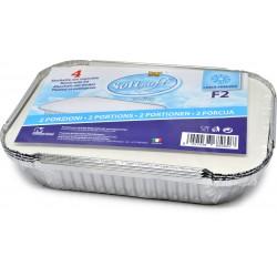 Soft Soft vaschette alluminio con coperchio f2 2 porzioni pz.4