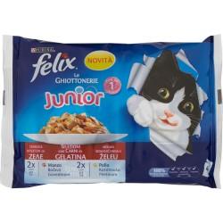 FELIX Le ghiottonerie Junior selezioni con carni in gelatina manzo - pollo 4 x 100 gr.