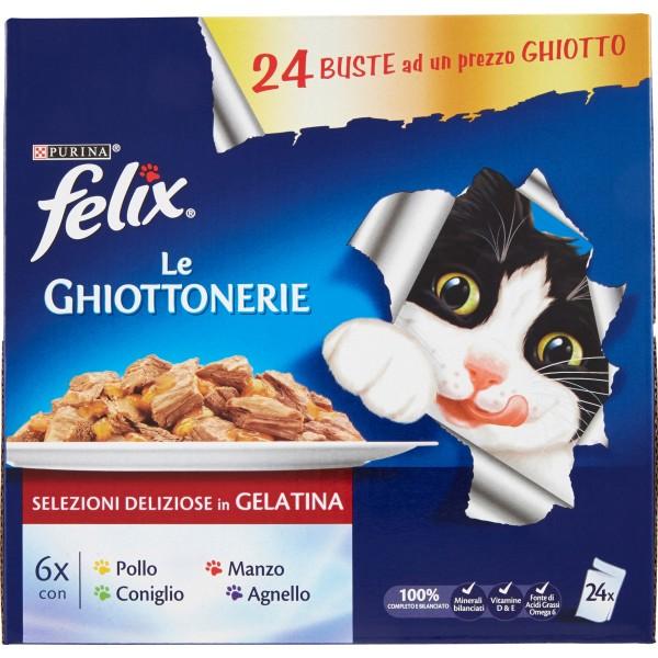 PURINA FELIX LE GHIOTTONERIE Gatto Umido con Manzo, con Pollo, con Coniglio, con Agnello 24x100 gr.