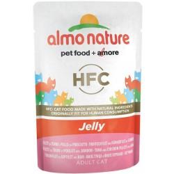 Almo nature Classic Jelly Adult Cat filetti di tonno e pollo con prosciutto 55 gr.