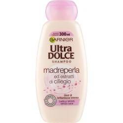 Garnier Ultra Dolce Shampoo Madreperla e Ciliegio per capelli spenti e senza luce, 300 ml.