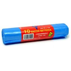Azzurro sacchi pattumiera pz.10 cm70x110