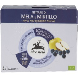 Alce nero Nettare di Mela e Mirtillo 3 x 200 ml.