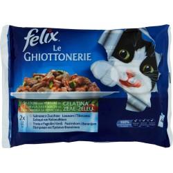 PURINA FELIX Le GHIOTTONERIE Con Salmone e Zucchine e con Trota e Fagiolini Verdi in Gelatina 4x100 gr.