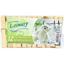 Laudry pinze biancheria bianco/legno pz.12