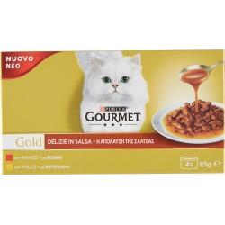 PURINA GOURMET Gold Gatto Delizie in Salsa con Pollo, Manzo Multipack Lattina 4x85 gr.