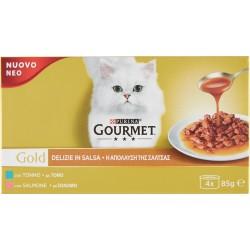 PURINA GOURMET Gold Gatto Delizie in Salsa con Salmone, Tonno Multipack Lattina 4x85 gr.