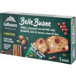 Galbusera BelleBuone Sottili e croccanti con mirtilli rossi, mandorle, semi di zucca e di lino 5x30g