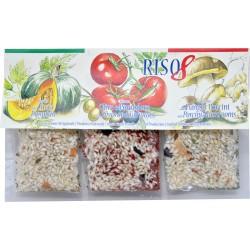 Alanfood tris risotti Zucca - Olive e pomodoro - Funghi porcini gr.60x3