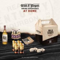 kit wild turkey: 1 Wild Turkey Bourbon cl.70, 4 Thomas Henry Ginger Ale, 4 bicchieri Wild&Ginger, 4 sottobicchieri, ricetta