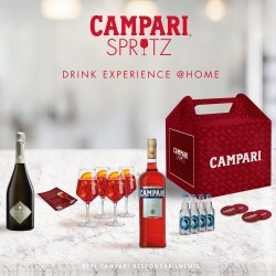 kit campari spritz: 1 Campari cl.70, 1 prosecco Frattina cl.75, 4 Thomas Henry soda, 4 calici , 4 sottobicchieri, ricetta