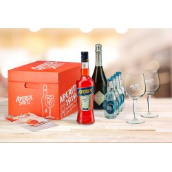 Kit aperol: 1 Aperol cl.70, 1 prosecco Frattina, 4 Thomas Henry soda, 2 calici Aperol spritz, 4 sottobicchieri, ricetta.
