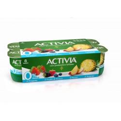 Activia 0% Grassi 2 Fragola - 2 Frutti di bosco - 2 Pesca - 2 Ananas in pezzi 8 x 125 gr.