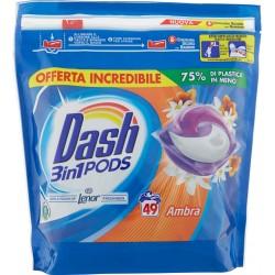 Dash PODS 3in1 Detersivo Lavatrice in Monodosi Ambra 49 Lavaggi