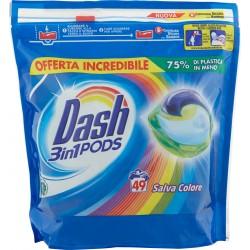 Dash PODS 3in1 Detersivo Lavatrice in Monodosi Salva Colore 49 Lavaggi