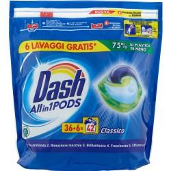 Dash PODS Allin1 Detersivo Lavatrice in Monodosi Classico 42 Lavaggi