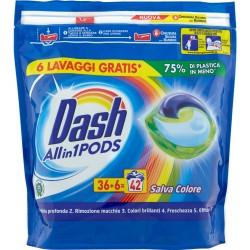 Dash PODS Allin1 Detersivo Lavatrice in Monodosi Salva Colore 42 Lavaggi