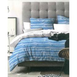 Completo letto singolo righe azzurre