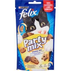 PURINA FELIX Party Mix Snack Gatto Cheezy mix Aromatizzato con formaggio Cheddar, Gouda e Edamer 60 gr.