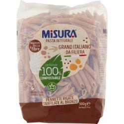 Misura Pasta Integrale Pennette Rigate Trafilate al Bronzo 500 gr. sacchetto compostabile