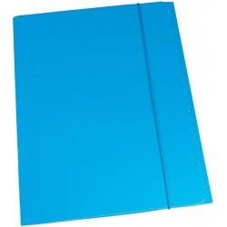 Cartella in cartoncino plastificato 3 lembi 25x34 con elastico colore azzurro